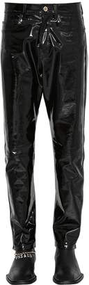 Versace Slim Fit Leather Trousers