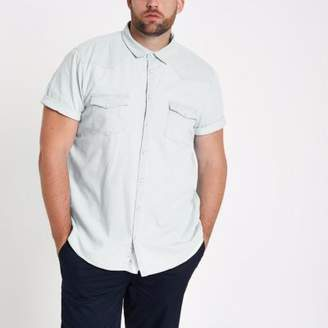 River Island Mens Big and Tall blue denim shirt
