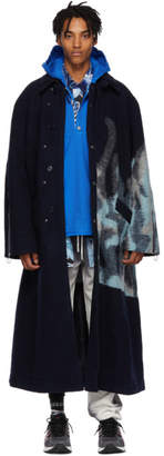 Off-White Blue Wool Double Collar Coat