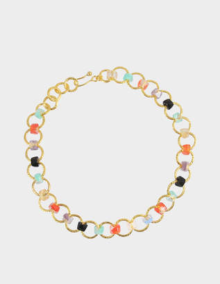 Aris Geldis One line multicolour choker (with coral)