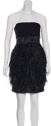 Sue Wong Feather-Accented Strapless Dress w/ Tags