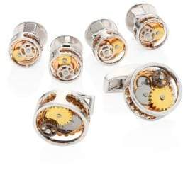 Tateossian Gear Round Cufflinks and Stud Set
