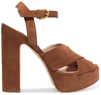 Stuart Weitzman Joni Suede Platform Sandals - Brown