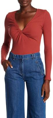 ASTR the Label Ribbed Twist Front Long Sleeve Bodysuit