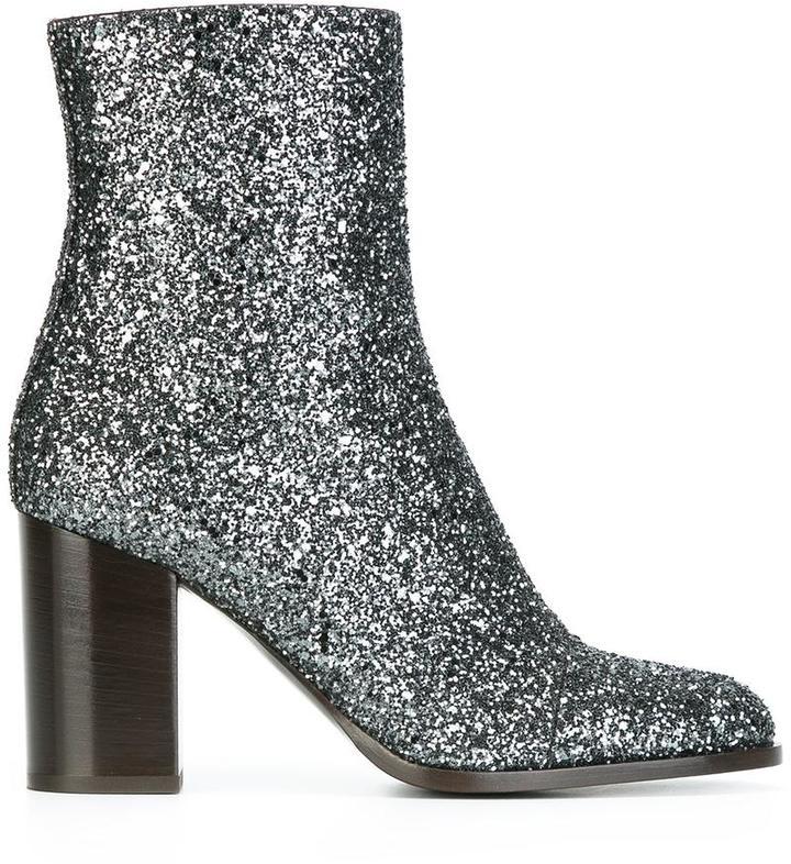 Veronique Branquinho - glitter boots - women - Cotton/Acrylic/Polyamide/Bos Taurus - 36.5