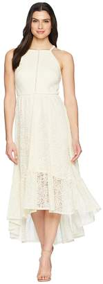 Vince Camuto Lace Halter High-Low Dress with Trim Inset at Bodice Women's Dress