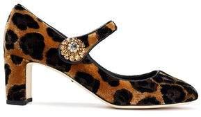 Dolce & Gabbana Vally Embellished Leopard-Print Velvet Mary Jane Pumps