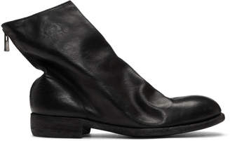 Guidi Black Horse Back Zip Ankle Boots