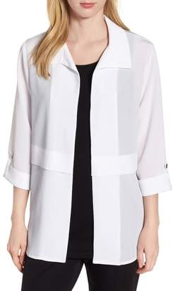 Ming Wang Gauzy Roll-Tab Sleeve Jacket