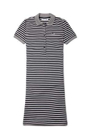 Lacoste Women's Striped Stretch Mini Cotton Pique Polo Dress