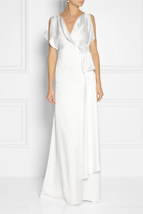 Temperley London Rosemary wrap-effect silk-satin gown