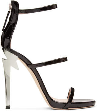 Giuseppe Zanotti Black Three-Strap G-Heel Sandals