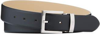 Armani Collezioni Square-Buckle Smooth Leather Belt