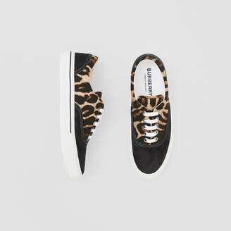 Burberry Leopard Print Nylon and Suede Sneakers