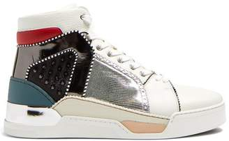 Christian Louboutin Loubikick Spike High Top Leather Trainers - Mens - Multi