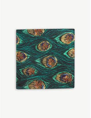 Eton Peacock pattern silk pocket square