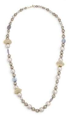 Alexis Bittar Elements Crystal Station Faux-Pearl Necklace