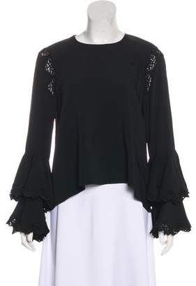 Jonathan Simkhai Lace-Trimmed Bell Sleeve Blouse w/ Tags