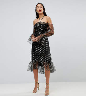 John Zack Tall Long Sleeve Cold Shoulder Metallic Star Print Midi Dress