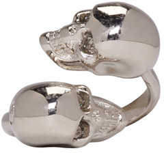 Alexander McQueen Silver Twin Skull Ring $195 thestylecure.com