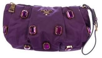 Prada Embellished Leather-Trimmed Tessuto Wristlet