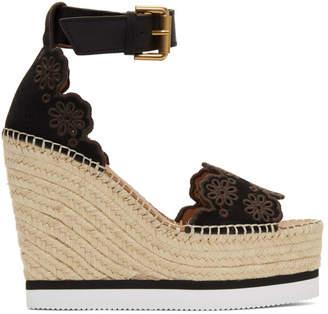 23d94df4f79270 See by Chloe Black Glyn Wedge Espadrilles Sandals