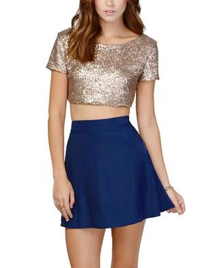 imomoco Women's Glitter Sequins Backless Crop Tops Candy Colors Short Sleeve T-Shirt