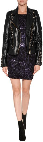 Just Cavalli Leather Jacket in Black