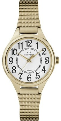 Timex Women's 30mm White Dial Watch, Gold-Tone Expansion Band