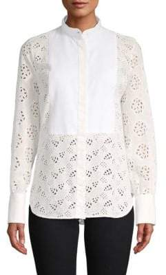 Valentino Embroidered Eyelet Button-Down Shirt