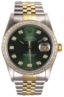 Rolex Datejust 18K Yellow Gold and Stainless Steel Green Diamond Dial and Bezel 36mm Watch