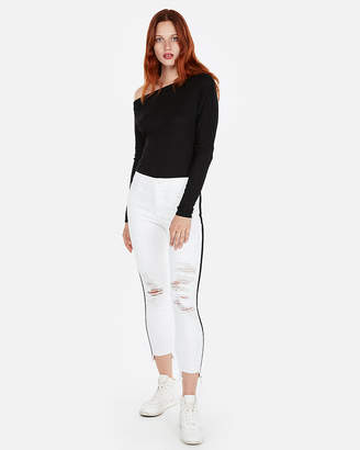 Express Ribbed Off The Shoulder Long Sleeve Tee