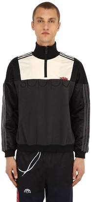 adidas By Alexander Wang Half Zip Nylon & Fleece Sweatshirt