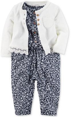 Carter's 2-Pc. Lace-Trim Cardigan & Floral-Print Jumpsuit Set, Baby Girls (0-24 months) $34 thestylecure.com