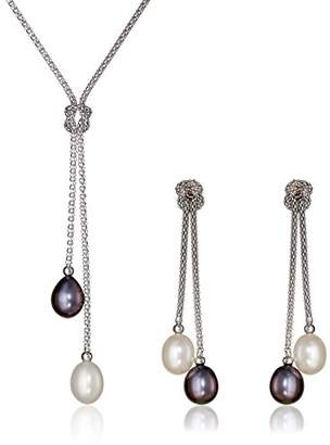 Bella Pearl Dangling and White Chinese Freshwater Cultured Pearl Jewelry Set