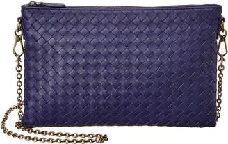Bottega Veneta Biletto Intrecciato Leather Wallet On Chain