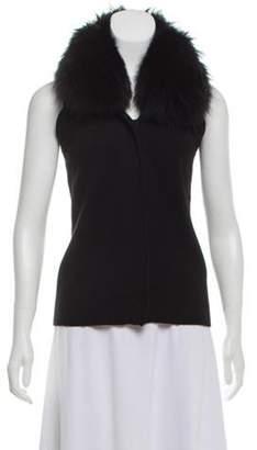 Diane von Furstenberg Sleeveless Fur Trimmed Top Black Sleeveless Fur Trimmed Top