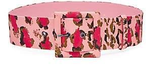 Carolina Herrera Women's Leopard Square Buckle Belt