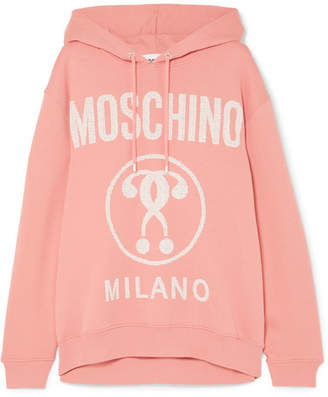 Moschino Printed Cotton-jersey Hoodie - Pink