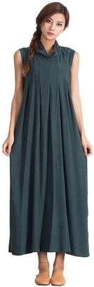 Grace Women's Linen Cotton Loose Dress Pleated Skirt Plus Size Clothing S15