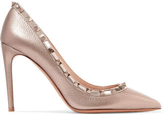 Valentino Garavani The Rockstud Metallic Textured-leather Pumps - Bronze