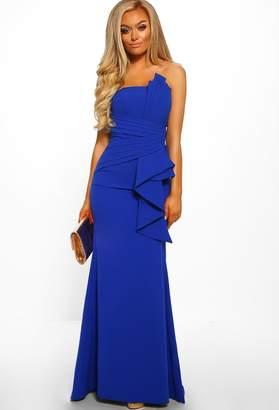 Pink Boutique Night Star Cobalt Blue Bandeau Pleated Detail Maxi Dress