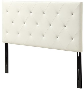 AC Pacific Contemporary Crystal Diamond Tufted Headboard, White (Queen)