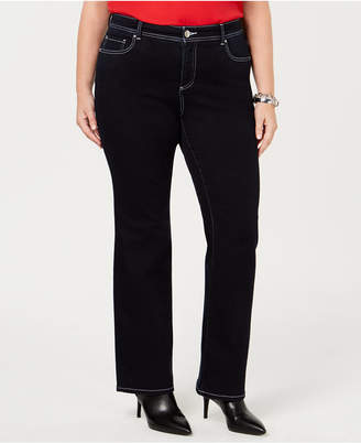 INC International Concepts I.n.c. Plus Size Bootcut Topstitched Jeans, Created for Macy's