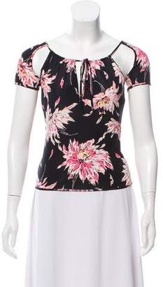 Blumarine Floral Print Short Sleeve Top