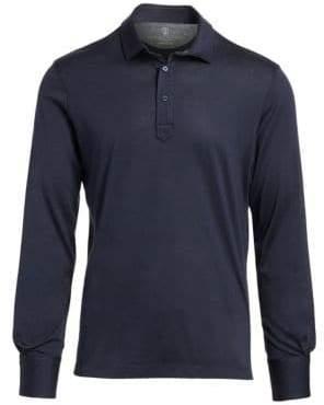 Brunello Cucinelli Long-Sleeve Spread Collar Polo