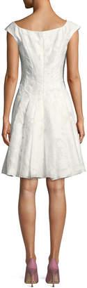 Zac Posen V-Neck Cap-Sleeve Gathered Silk-Blend Midi Dress