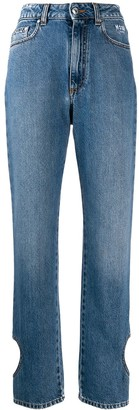 MSGM heart shape cut out jeans