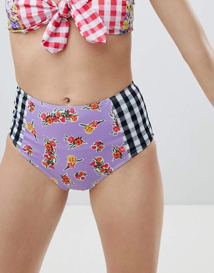 – Bikinihose mit hoher Taille und abwechslungsreichem Print
