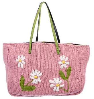 Fendi Floral Cable Knit Tote